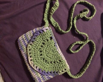 Irises Mandala Pouch w/Shoulder Strap - Green and Purple Shoulder Bag - Festival Purse - Hippy Clutch - Crochet Purse - FREE SHIPPING