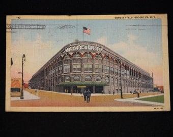 Vintage Ebbets Field Brooklyn New York Postcard postmarked 1941