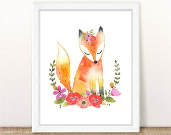 PRINTABLE Girl Fox Nursery Art Print, Fox Art Print Girl, Floral Fox Nursery, Woodland Girl Nursery Art, Girl Pink Fox Wall Art, Pink Floral