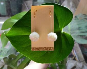 Cream Pom Pom Earrings