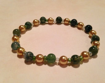 Moss agate stretchy bracelet