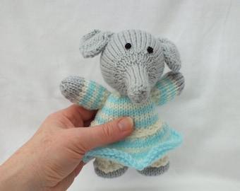 Hand Knitted Girl Elephant, Handmade Animals, Stuffed Small Soft Toys