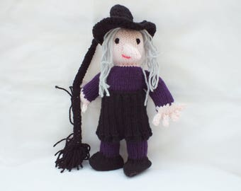 Purple Witch, Hand Knitted Doll,
