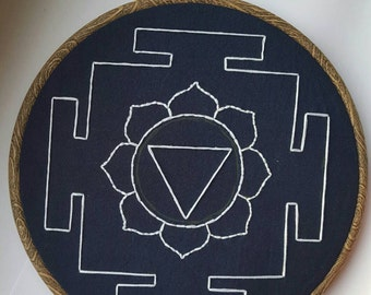 Hand Embroidered Tara Yantra - 8 inch hoop - Decorative Goddess Symbol and Meditation Aid - Wall Art - Gifts
