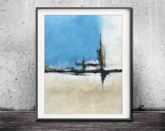 Blue print sand printable art wall decor instant download art abstract landscape painting art line modern interior design artwork home decor