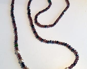 Long thin purple Crystal beads and pearls necklace