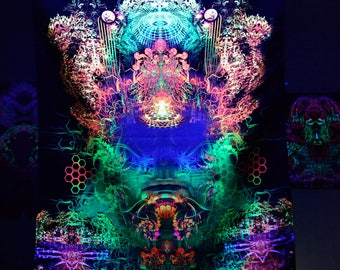 Art Print   Tuva - Psychedelic Canvas UV Spiritual Gift Sacred Geometry Trance Visionary Art