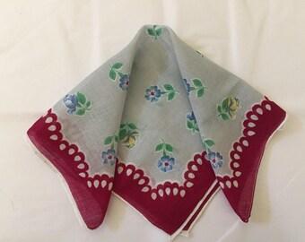 Vintage Handkerchief  / Red Eyelet Border