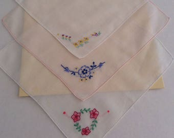 Vintage Handkerchiefs / Child's set of three