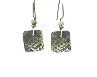 Etched Silver & Crysoprase Earrings