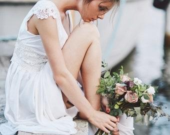Boho Wedding Dress/ Empire Waist Wedding Dress with Cap Sleeves