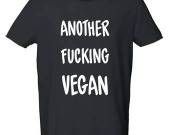 "T-shirt cotton man bio ""ANOTHER FUCKING VEGAN"", vegan tshirt"