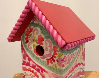 bright and cheery spring floral fabric decoupage birdhouse