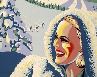 SKI at the STAINTE ADELE Lodge - Vintage Ski Poster