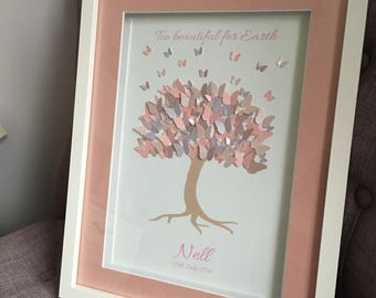Baby loss butterfly tree frame, miscarriage keepsake, stillbirth, infant loss, angel baby, memorial keepsake, too beautiful for Earth
