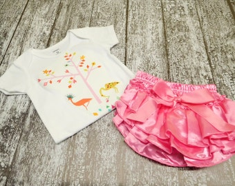baby girl ostrich bodysuit with pink bloomers, pink yellow, one piece with diaper cover, baby girl animals outfit, 12 months, ruffle pants