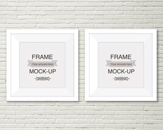 styled product mockup digital frame double white frames brick wall background stock image square frames 10 x 10 inch 12 x 12 inch from mockalley on - White Square Picture Frames