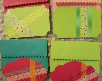 Set of 4 coordinating washi tape flat note cards with matching envelopes- confetti polka dot