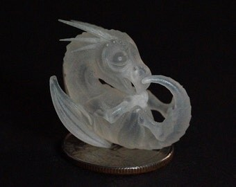 Tiny 'Crystalised' Baby Dragon. Miniature Dragon Embryo Ornament