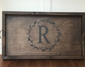 Wood tray HANDMADE CUSTOM Farmhouse style wood stained and painted serving tray add initial rustic decor