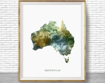 Australia Map Art, Australia Print, Watercolor Map, Map Painting, Map Artwork, Country Art, Office Decorations, Country Map Art Print Zone
