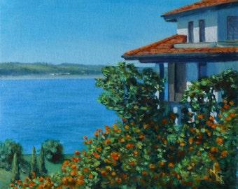 Sozopol Bulgaria. original acrylic painting. sea view