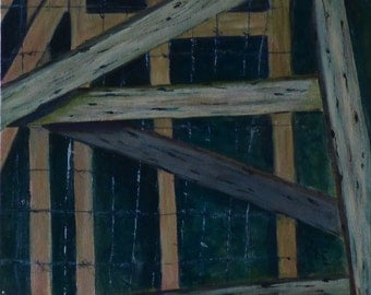 fences. original original painting. abstract painting