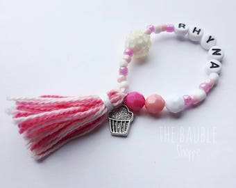 Cupcake Charm Bracelet, Cupcake Jewelry, Birthday Gift, Children's Jewelry, Personalized Bracelet, Party Favor, Friendship Bracelet, Muffin