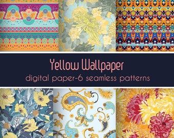 Printable botanical, Wrapping paper, Boho art, Seamless pattern, Repeatable pattern, Paisley art, Printable art, Spring art, DIY art