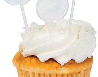 """12 White Cupcake Picks (31/2"""")"""