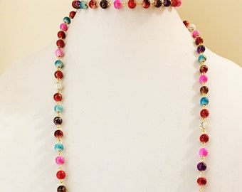 SALE 50% OFF Rainbow Bead Chain Double Wrap