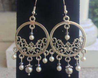 Silver Art Nouveau Chandelier Earrings
