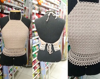 Crochet top,Crochet halter, Crop top, Bohemian, Festival top, Handmade, Hippie, High Neck Crochet Crop Top, Summerwear, Gypsy Style, top bra
