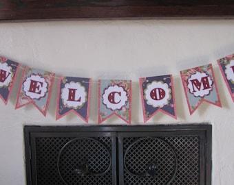 Welcome Banner, Welcome Sign, Wedding Banner, Wedding Garland, Party Banner, Floral Welcome, Wedding Sign, Wedding Decor, Baby Shower Banner