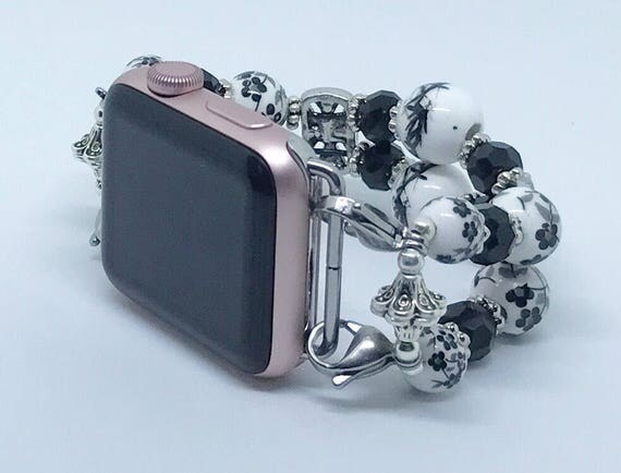 "Apple Watch Band, Women Bead Bracelet Watch Band, iWatch Strap, Apple Watch 38mm, Apple Watch 42mm, Floral Black & White 6 1/2"" to 6 3/4"""