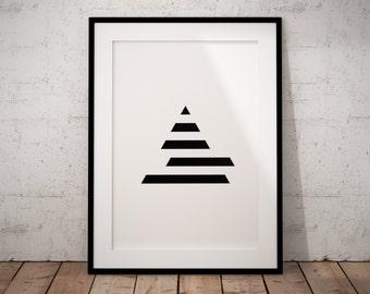 Triangle Geometric Art Print, Black And White Minimalist Printable Art, Printable Geometric Wall Art Print, Minimalist Geometric Print Art