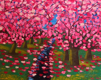 Original painting thick acrylic on canvas - Falling Blossoms