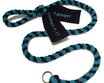 Personalized British style fleece slip leash braided agility tug lead