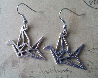 Crane earrings ~ silver ~
