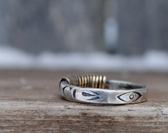 Wire Wrapped Mixed Metal Navajo Stamped Evil Eye Sterling Silver Brass Ring