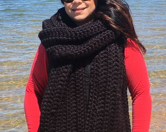 Oversized crochet long scarf