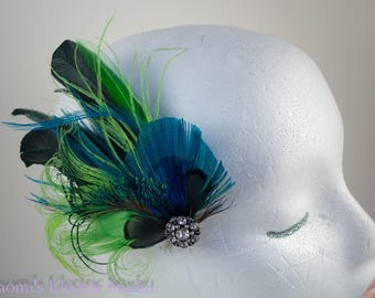 Feather Fascinator, Feather Clip, Hair Clip, Bridal, Bride, Girls Clip, Womens Clip, Peacock Hair Clip