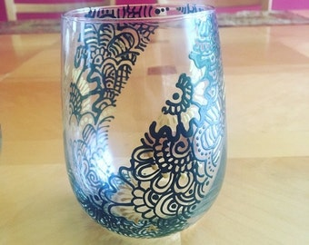 Decorated Wine Glass