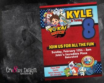 YoKai Watch Birthday Custom Printable Invitation, Yo-Kai