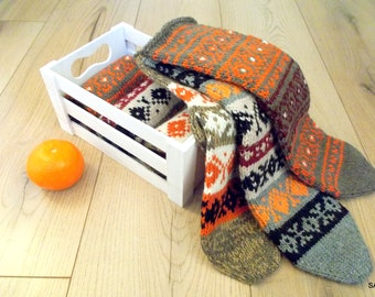 SALE Wool socks, Knitted mens socks, Handmade Short socks, Knit slippers, Hand knitted wool socks, Soft and warm, Knitted gift, Woolen socks