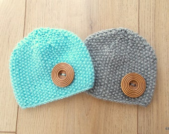 Hand Knitted  Newborn Baby Hat - Croshet Hat - Beanie Hat Set of 2 - Blue Gray Hat - Newborn Hat - Baby beanie hat - Knitted gift -Baby boy