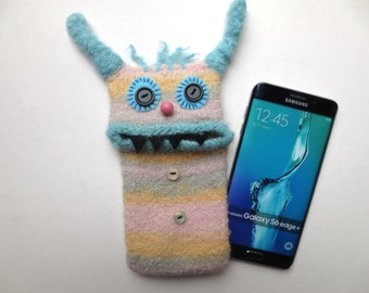 "Smartphone cover, Monster ""Karina"", mobile edge, bag, case, Samsung Galaxy S7 S6 edge plus, iPhone 6 plus, felt, wool,."