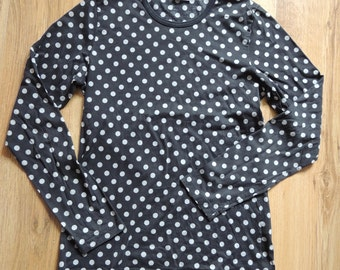FREE SHIPPING - Vintage MARIMEKKO 100% Cotton Black and gray small polka dots long sleeve soft top, made in Finland