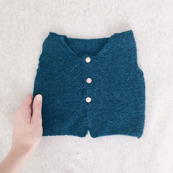 Basil vest - Green baby alpaca knit Cardigan - 24 months - 2 years