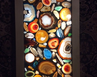 Back lighted Agate Geode sea glass mosaic artwork panel (like stained glass)